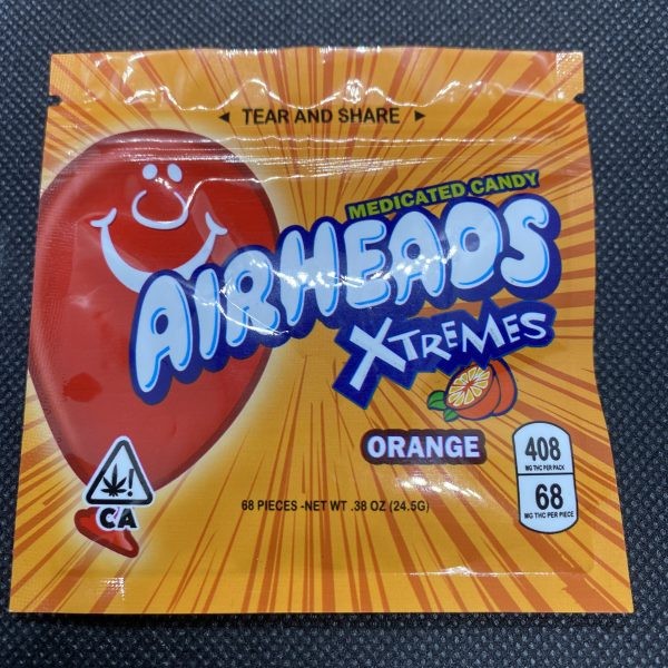 Orange thc airheads fully-infused Cannabis gummy containing 80mg of THC made from an Indica dominant Cannabis extract.